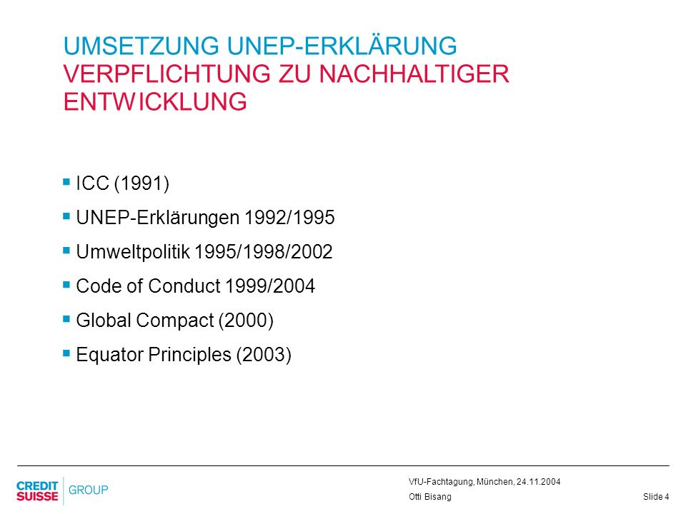 Slide 15 VfU-Fachtagung, München, 24.11.2004 Otti Bisang MICROFINANCE A PROMISING INVESTMENT THEME Driving forces: Globalization: benefits are not equally distributed – rich countries benefit more than poorer nations Number of people that live in poverty is increasing: 3 billion people live on less than USD 2 a day Access to capital is a key factor for economic development Global players are expected to accept broader responsibilities 2005: UN Year of Microcredit Microfinance is a need we address as a financial intermediary to improve living conditions in developing countries Many HNWIs believe wealth also brings about responsibilities -> we enable them to act on this
