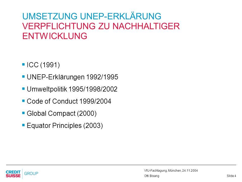 Slide 5 VfU-Fachtagung, München, 24.11.2004 Otti Bisang UMSETZUNG UNEP-ERKLÄRUNG UMWELTMANAGEMENT UND FINANZINSTITUTE Umweltmanagement zertifiziert nach ISO 14001 (1997-2000-2003-2006) Umwelt-/Nachhaltigkeitsberichterstattung validiert DJSI / FTSE4Good / imug … VfU-/EPI-/SPI-Standards Zertifizierung der Zulieferer gefördert Kontakte zu Universitäten und Hochschulen