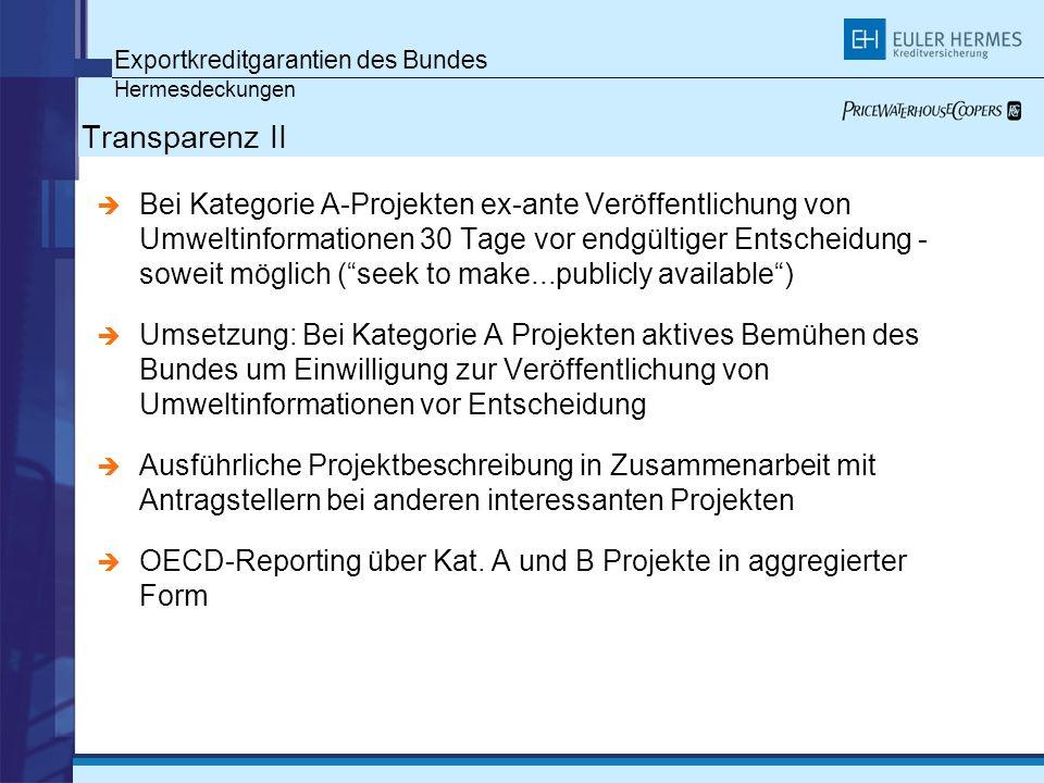 Exportkreditgarantien des Bundes Hermesdeckungen Transparenz II Bei Kategorie A-Projekten ex-ante Veröffentlichung von Umweltinformationen 30 Tage vor