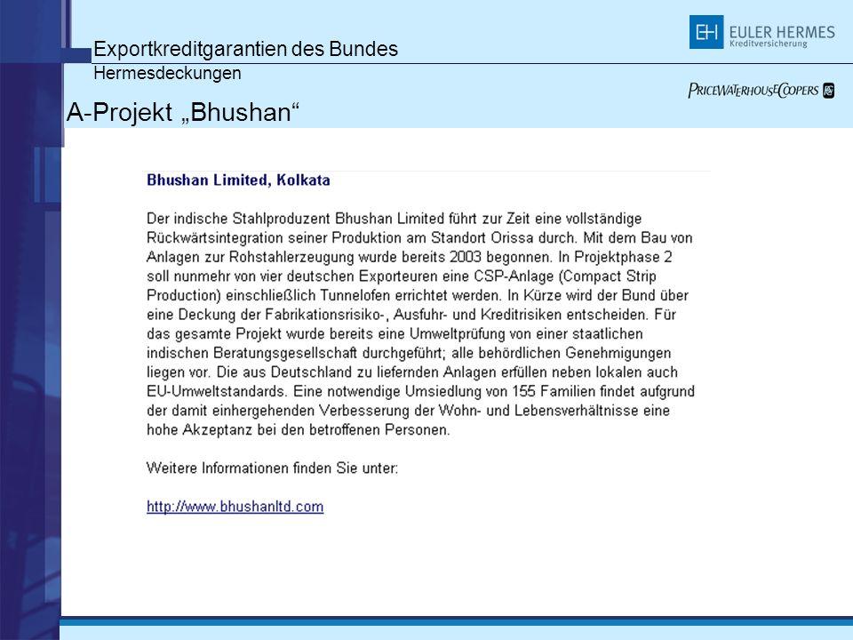 Exportkreditgarantien des Bundes Hermesdeckungen A-Projekt Bhushan