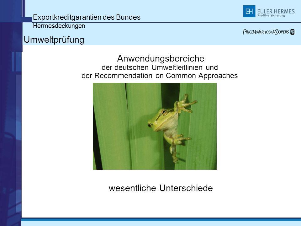 Exportkreditgarantien des Bundes Hermesdeckungen Umweltprüfung Anwendungsbereiche der deutschen Umweltleitlinien und der Recommendation on Common Approaches wesentliche Unterschiede