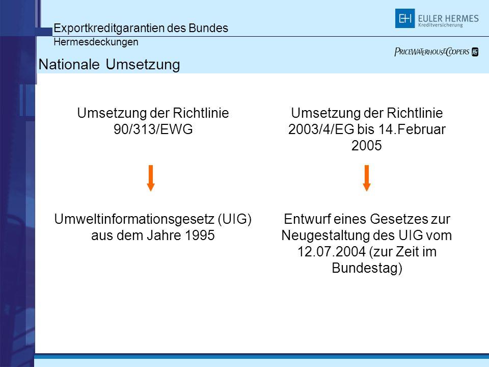 Exportkreditgarantien des Bundes Hermesdeckungen Nationale Umsetzung Umsetzung der Richtlinie 90/313/EWG Umweltinformationsgesetz (UIG) aus dem Jahre 1995 Umsetzung der Richtlinie 2003/4/EG bis 14.Februar 2005 Entwurf eines Gesetzes zur Neugestaltung des UIG vom 12.07.2004 (zur Zeit im Bundestag)