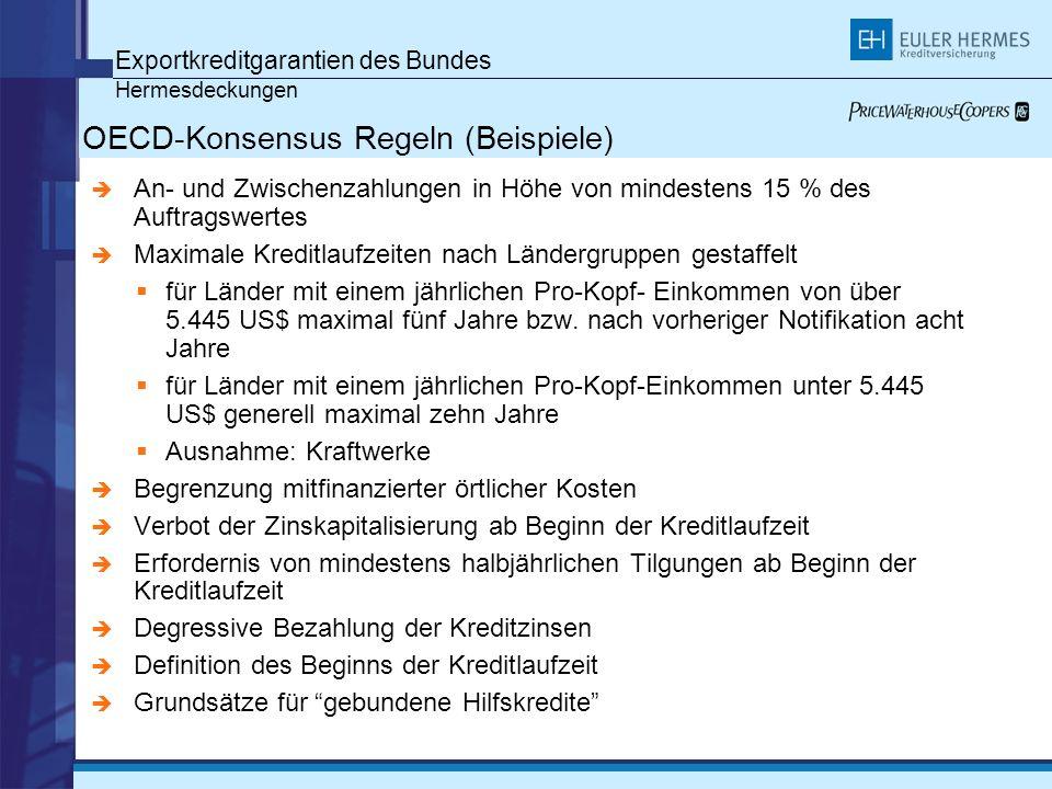 Exportkreditgarantien des Bundes Hermesdeckungen OECD-Konsensus Regeln (Beispiele) An- und Zwischenzahlungen in Höhe von mindestens 15 % des Auftragsw