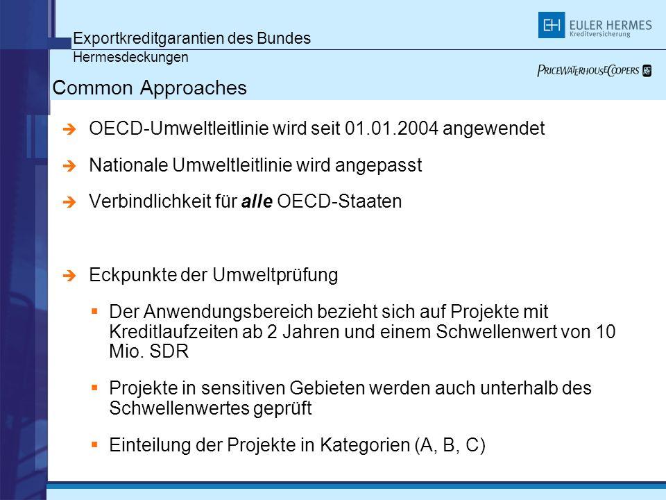 Exportkreditgarantien des Bundes Hermesdeckungen Common Approaches OECD-Umweltleitlinie wird seit 01.01.2004 angewendet Nationale Umweltleitlinie wird