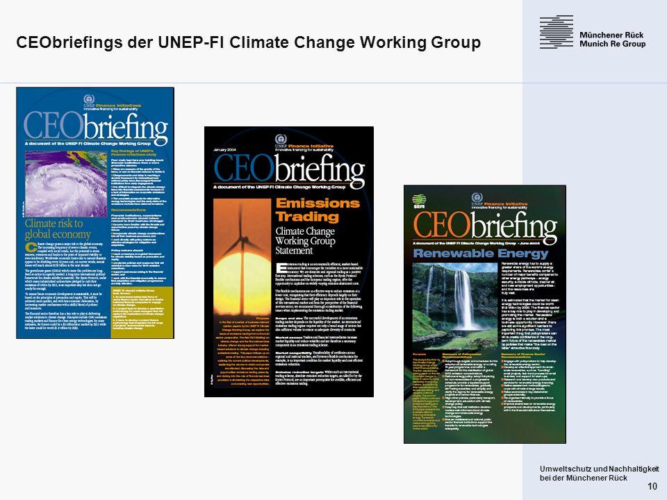 Umweltschutz und Nachhaltigkeit bei der Münchener Rück 10 CEObriefings der UNEP-FI Climate Change Working Group