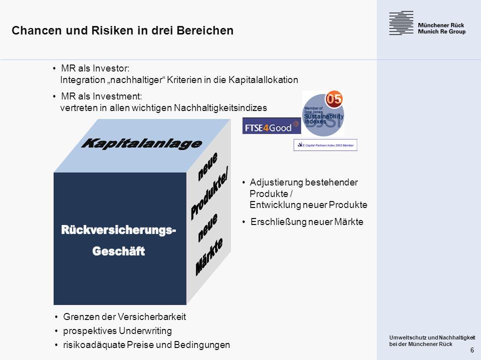 Umweltschutz und Nachhaltigkeit bei der Münchener Rück 6 Chancen und Risiken in drei Bereichen Grenzen der Versicherbarkeit prospektives Underwriting