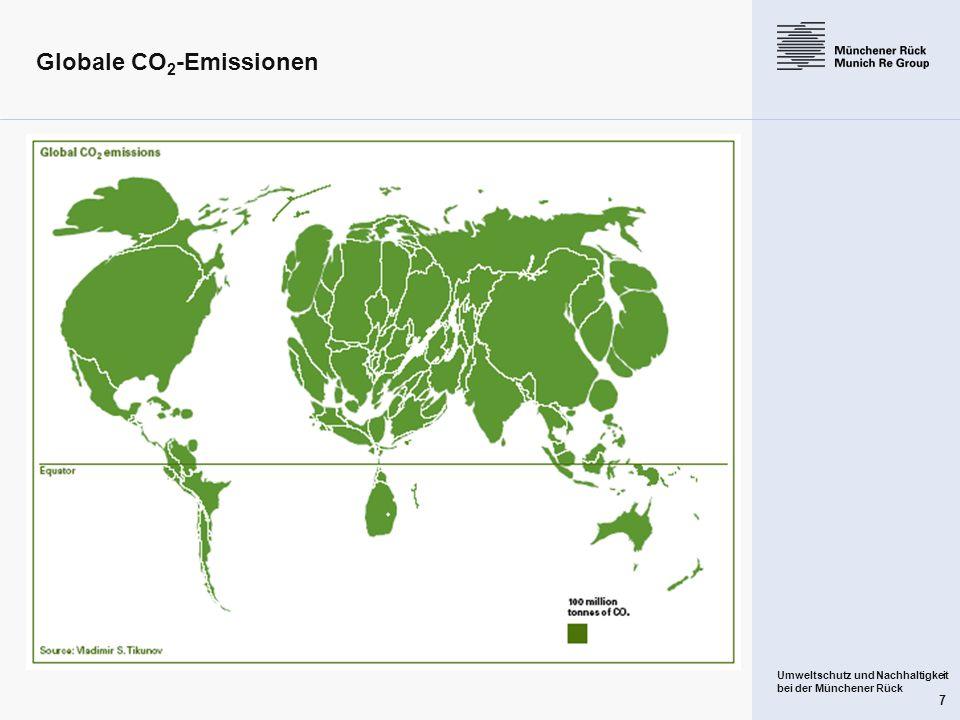 Umweltschutz und Nachhaltigkeit bei der Münchener Rück 7 Globale CO 2 -Emissionen