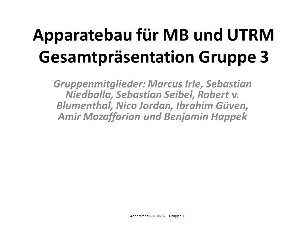 Apparatebau für MB und UTRM Gesamtpräsentation Gruppe 3 Gruppenmitglieder: Marcus Irle, Sebastian Niedballa, Sebastian Seibel, Robert v. Blumenthal, N