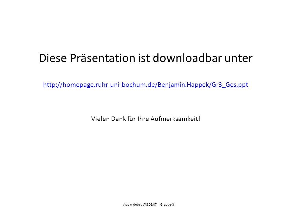 Apparatebau WS 06/07 Gruppe 3 Diese Präsentation ist downloadbar unter http://homepage.ruhr-uni-bochum.de/Benjamin.Happek/Gr3_Ges.ppt Vielen Dank für