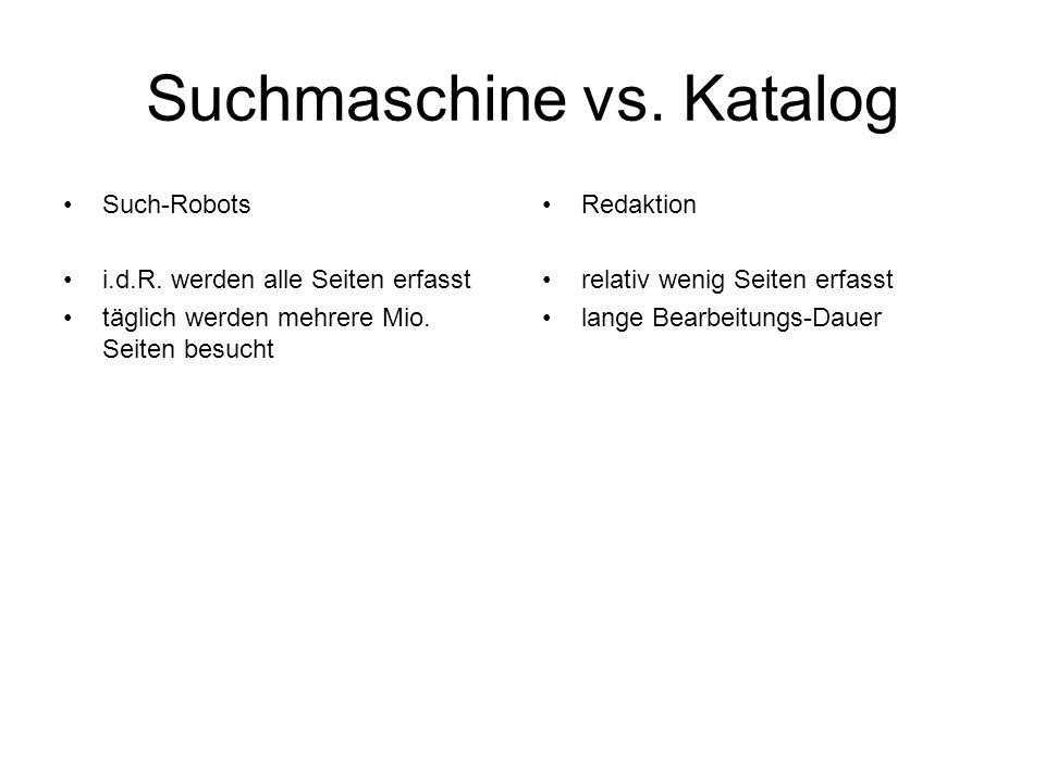 Suchmaschine vs. Katalog Such-Robots i.d.R. werden alle Seiten erfasst täglich werden mehrere Mio. Seiten besucht Redaktion relativ wenig Seiten erfas