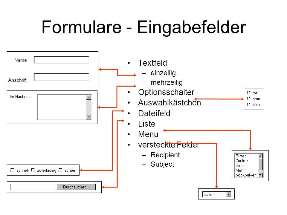 Formulare - Eingabefelder Textfeld –einzeilig –mehrzeilig Optionsschalter Auswahlkästchen Dateifeld Liste Menü versteckte Felder –Recipient –Subject