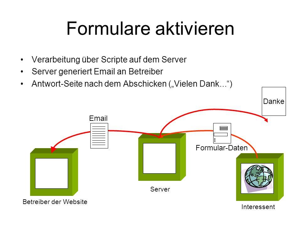 Formulare aktivieren Verarbeitung über Scripte auf dem Server Server generiert Email an Betreiber Antwort-Seite nach dem Abschicken (Vielen Dank...) I