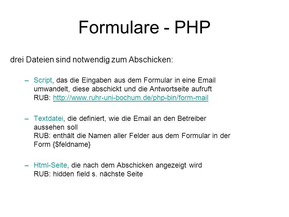 Formulare - PHP drei Dateien sind notwendig zum Abschicken: –Script, das die Eingaben aus dem Formular in eine Email umwandelt, diese abschickt und di