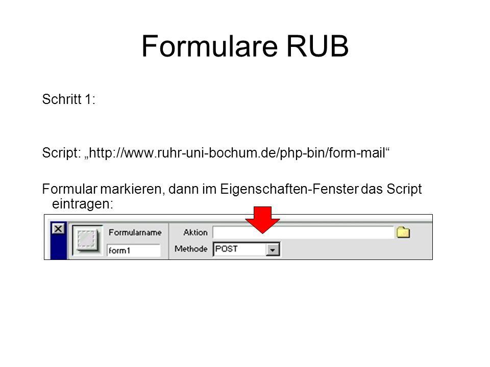 Formulare RUB Schritt 1: Script: http://www.ruhr-uni-bochum.de/php-bin/form-mail Formular markieren, dann im Eigenschaften-Fenster das Script eintrage