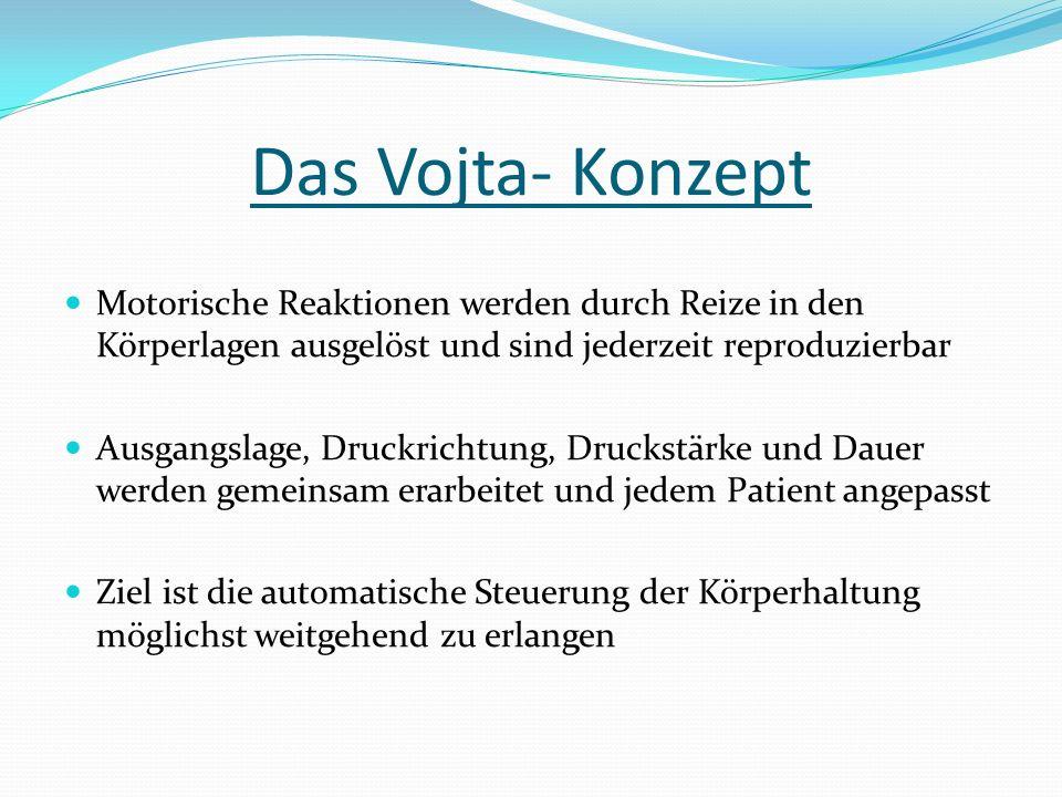 Das Vojta- Konzept Motorische Reaktionen werden durch Reize in den Körperlagen ausgelöst und sind jederzeit reproduzierbar Ausgangslage, Druckrichtung, Druckstärke und Dauer werden gemeinsam erarbeitet und jedem Patient angepasst Ziel ist die automatische Steuerung der Körperhaltung möglichst weitgehend zu erlangen