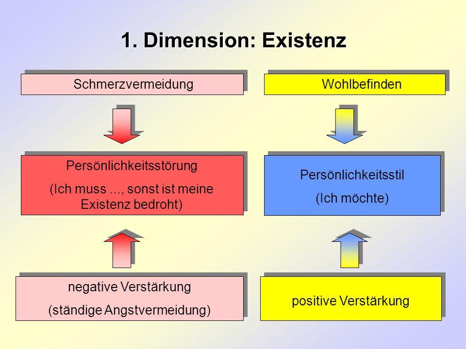 1. Dimension: Existenz Schmerzvermeidung Wohlbefinden Persönlichkeitsstörung (Ich muss..., sonst ist meine Existenz bedroht) Persönlichkeitsstörung (I