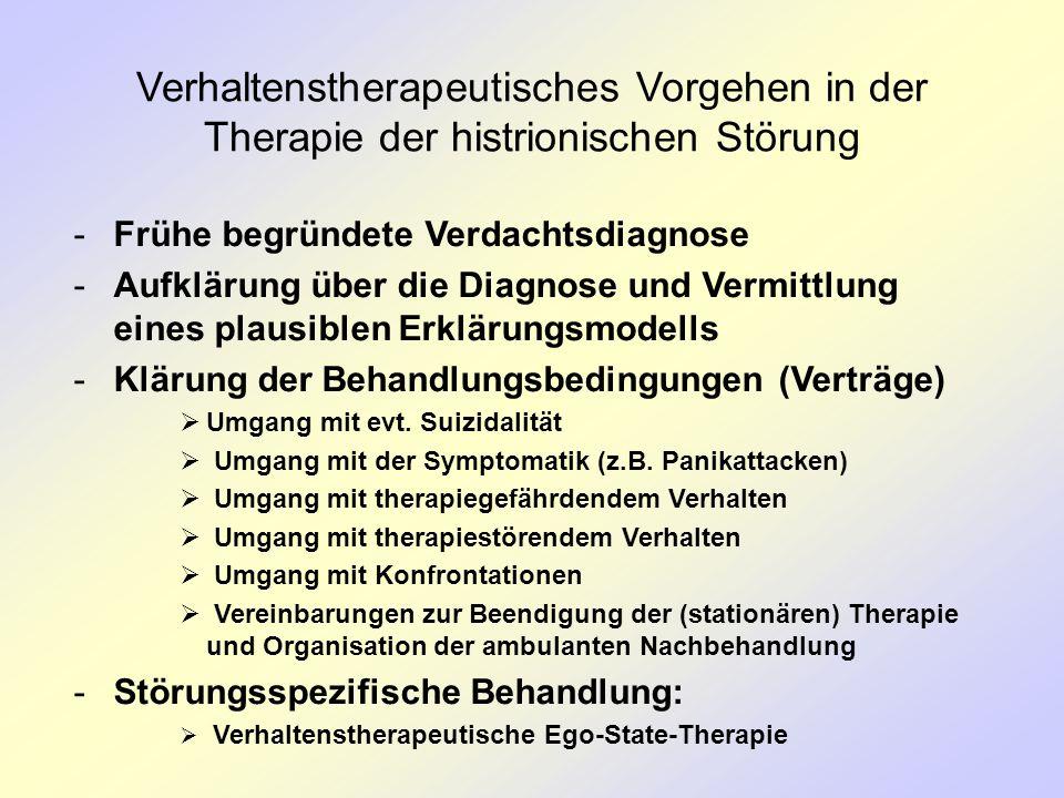 Verhaltenstherapeutisches Vorgehen in der Therapie der histrionischen Störung -Frühe begründete Verdachtsdiagnose -Aufklärung über die Diagnose und Ve