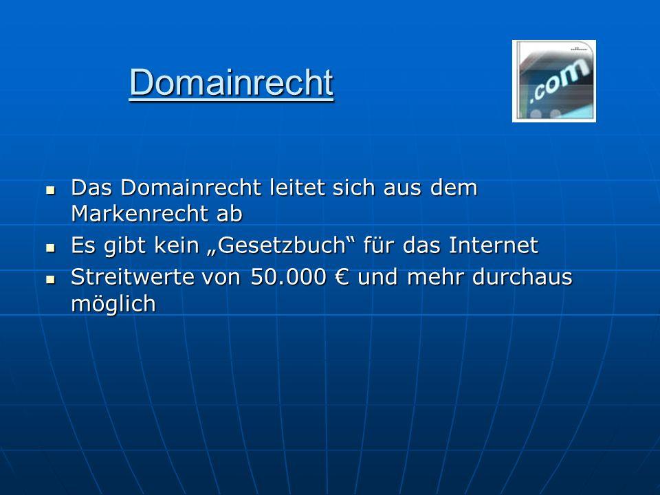 Domainrecht Das Domainrecht leitet sich aus dem Markenrecht ab Das Domainrecht leitet sich aus dem Markenrecht ab Es gibt kein Gesetzbuch für das Inte