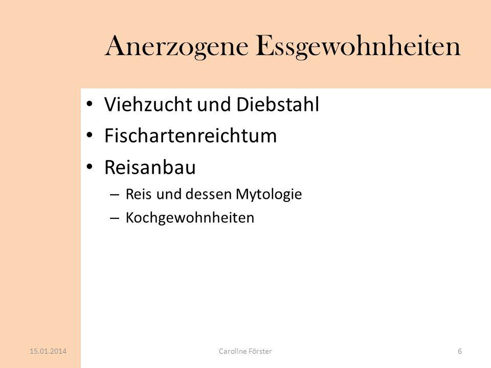 Folgekrankheiten Anämie(=Blutarmut): – Eisenmangel – Vitamin B 12 Mangel Skorbut und Dermatitis Fehlbildung: – Folsäure 15.01.20147Caroline Förster