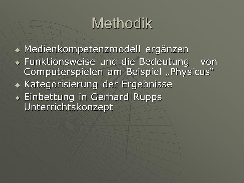 Methodik Medienkompetenzmodell ergänzen Medienkompetenzmodell ergänzen Funktionsweise und die Bedeutung von Computerspielen am Beispiel Physicus Funkt