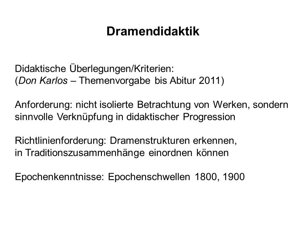 Dramendidaktik Didaktische Überlegungen/Kriterien: (Don Karlos – Themenvorgabe bis Abitur 2011) Anforderung: nicht isolierte Betrachtung von Werken, s