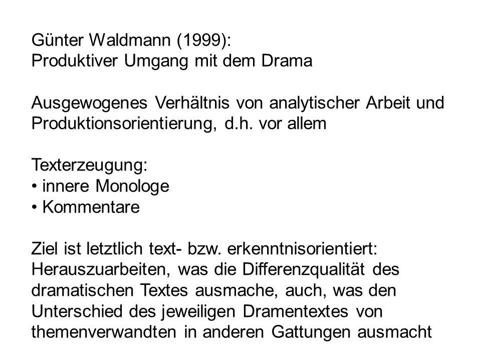 Günter Waldmann (1999): Produktiver Umgang mit dem Drama Ausgewogenes Verhältnis von analytischer Arbeit und Produktionsorientierung, d.h. vor allem T