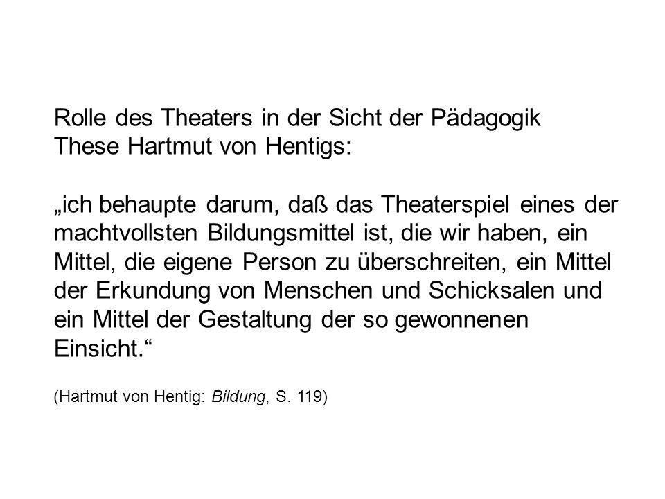 Rolle des Theaters in der Sicht der Pädagogik These Hartmut von Hentigs: ich behaupte darum, daß das Theaterspiel eines der machtvollsten Bildungsmitt