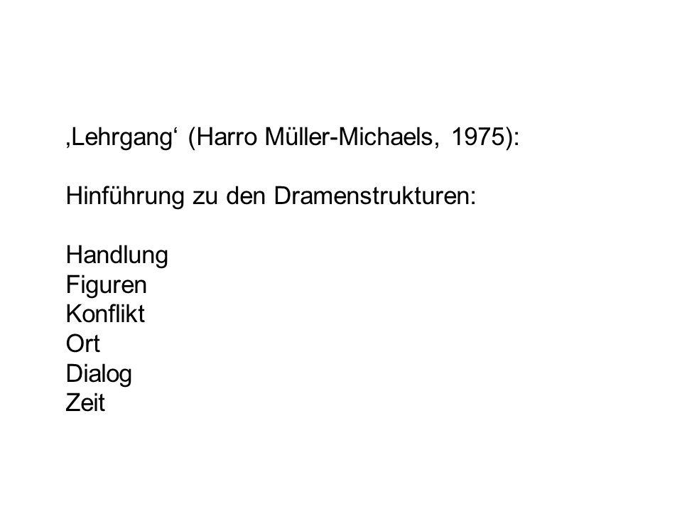 Lehrgang (Harro Müller-Michaels, 1975): Hinführung zu den Dramenstrukturen: Handlung Figuren Konflikt Ort Dialog Zeit