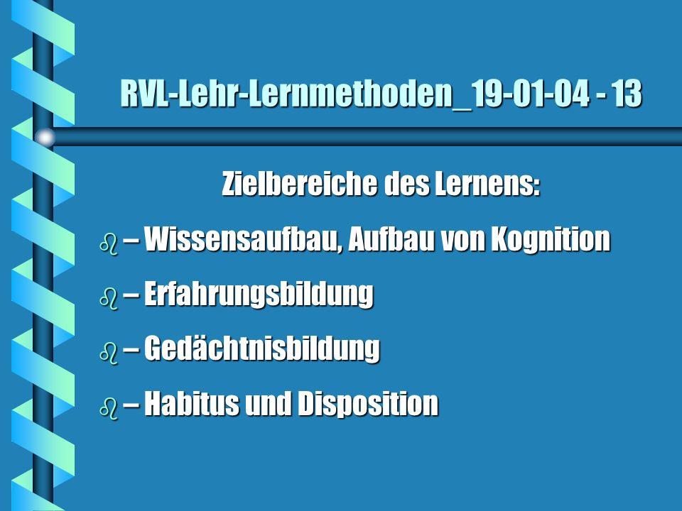 RVL-Lehr-Lernmethoden_19-01-04 - 13 Zielbereiche des Lernens: b – Wissensaufbau, Aufbau von Kognition b – Erfahrungsbildung b – Gedächtnisbildung b –