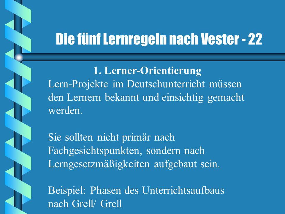 Die fünf Lernregeln nach Vester - 22 1. Lerner-Orientierung Lern-Projekte im Deutschunterricht müssen den Lernern bekannt und einsichtig gemacht werde