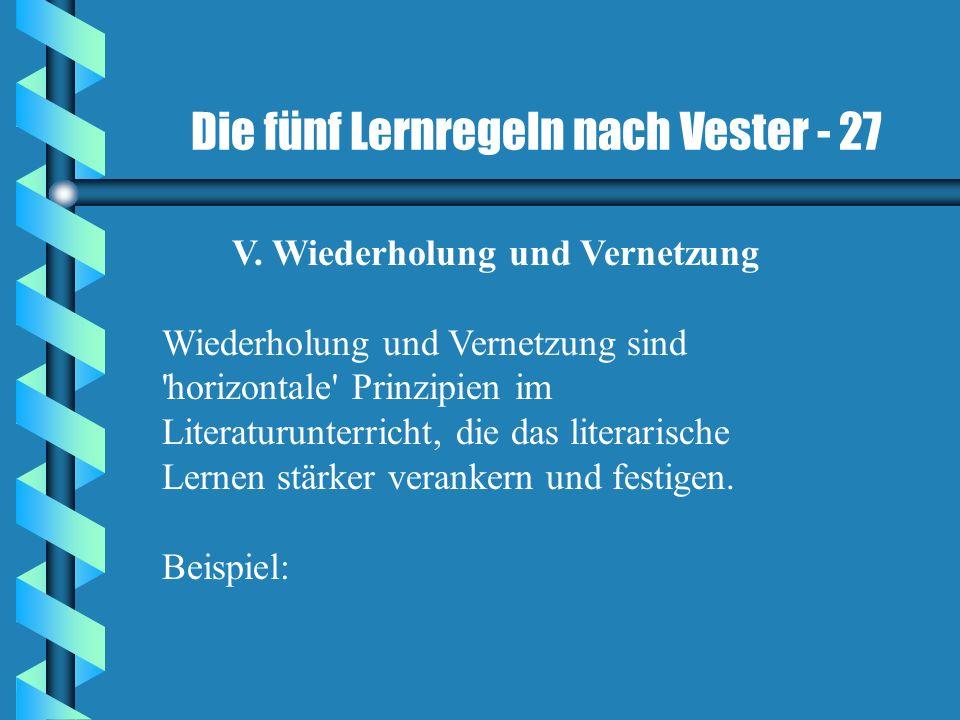 Die fünf Lernregeln nach Vester - 27 V. Wiederholung und Vernetzung Wiederholung und Vernetzung sind 'horizontale' Prinzipien im Literaturunterricht,
