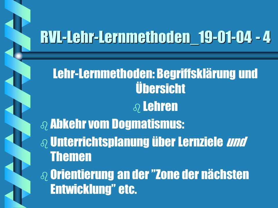 RVL-Lehr-Lernmethoden_19-01-04 - 4 Lehr-Lernmethoden: Begriffsklärung und Übersicht b b Lehren b b Abkehr vom Dogmatismus: b b Unterrichtsplanung über