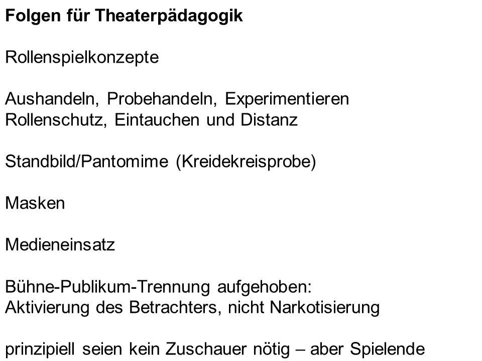 Folgen für Theaterpädagogik Rollenspielkonzepte Aushandeln, Probehandeln, Experimentieren Rollenschutz, Eintauchen und Distanz Standbild/Pantomime (Kr