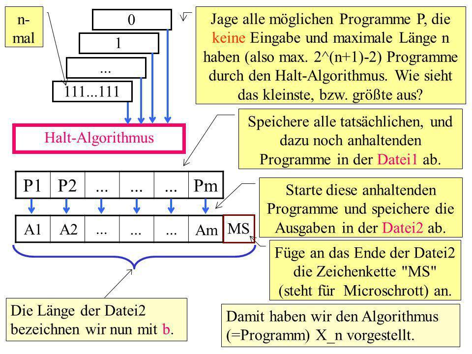 Halt-Algorithmus 0 Jage alle möglichen Programme P, die keine Eingabe und maximale Länge n haben (also max.