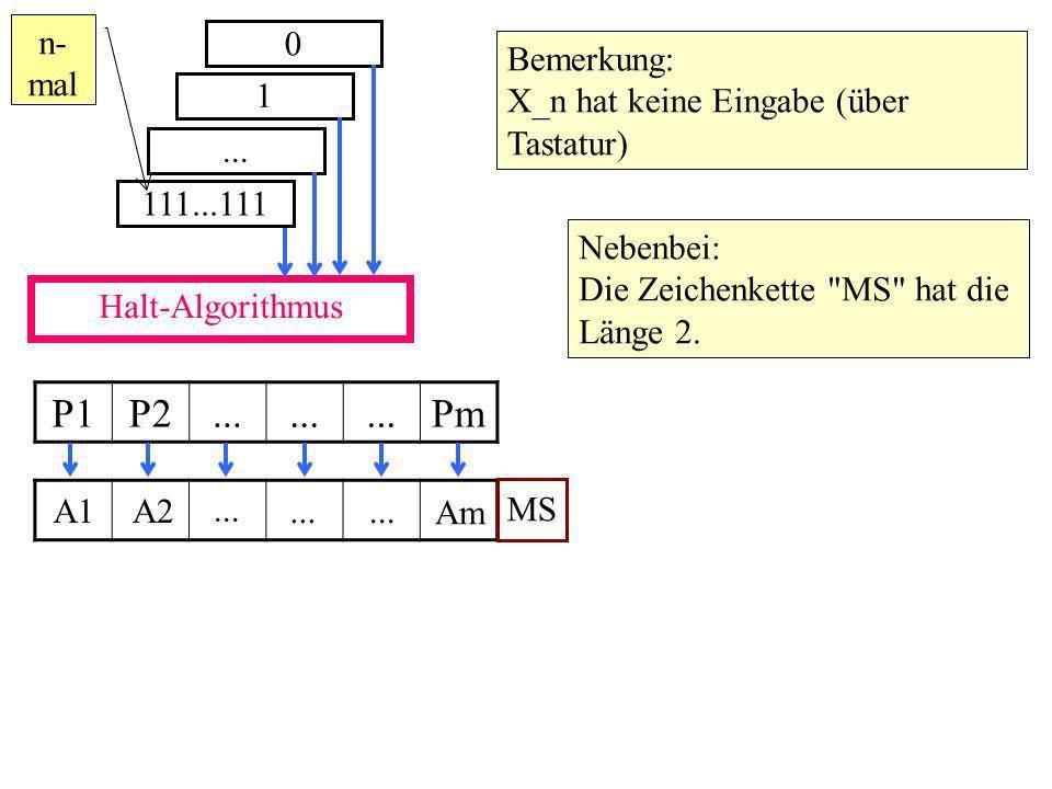 Halt-Algorithmus 0 1... 111...111 P1P2... Pm n- mal A1A2 Am...
