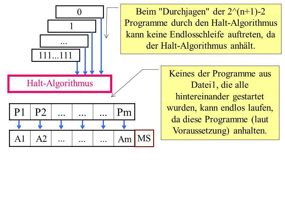 Halt-Algorithmus 0 Beim Durchjagen der 2^(n+1)-2 Programme durch den Halt-Algorithmus kann keine Endlosschleife auftreten, da der Halt-Algorithmus anhält.