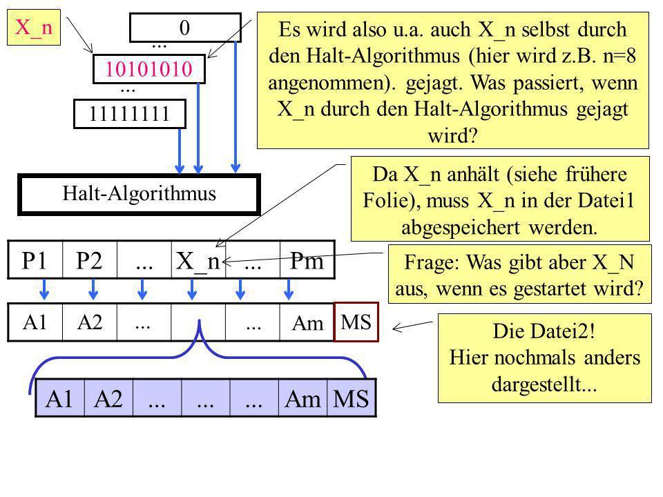 Halt-Algorithmus 0 Es wird also u.a. auch X_n selbst durch den Halt-Algorithmus (hier wird z.B.