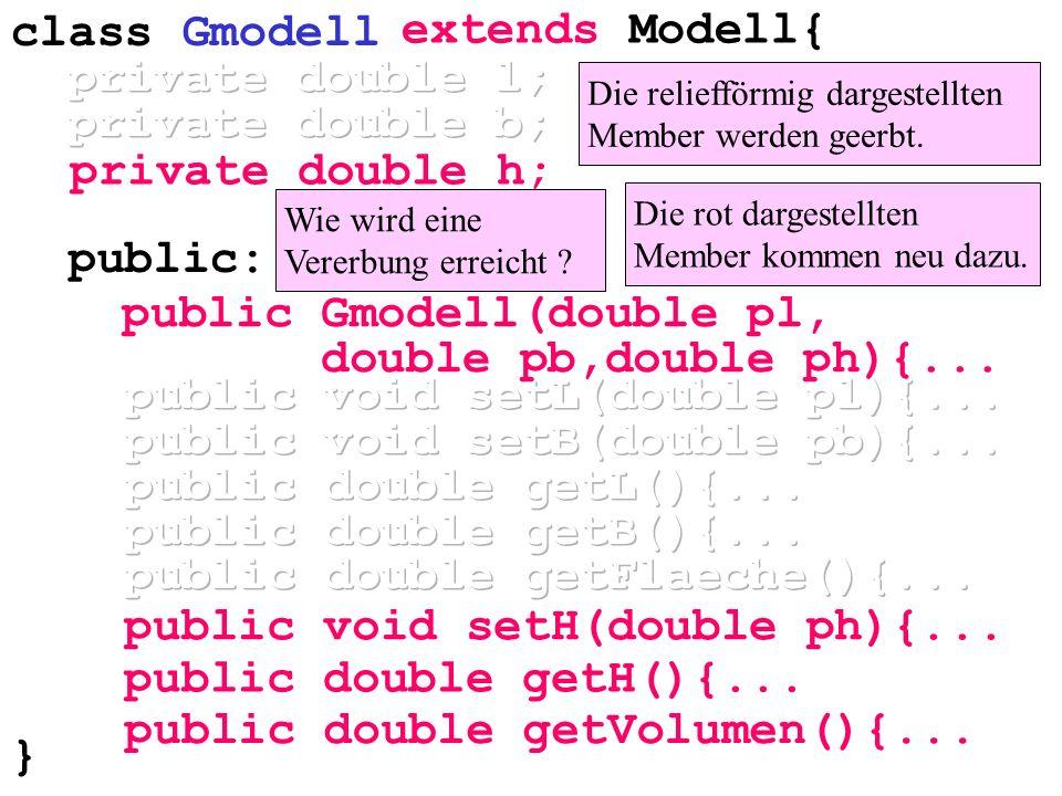 private double h; public double getVolumen(){... Die reliefförmig dargestellten Member werden geerbt. Die rot dargestellten Member kommen neu dazu. Wi
