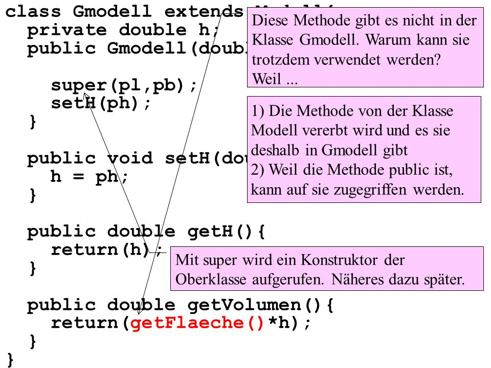 class Gmodell extends Modell{ private double h; public Gmodell(double pl, double pb, double ph){ super(pl,pb); setH(ph); } public void setH(double ph)