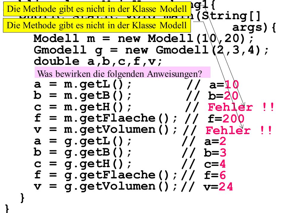 public class MainVererbung1{ public static void main(String[] args){ Modell m = new Modell(10,20); Gmodell g = new Gmodell(2,3,4); double a,b,c,f,v; a