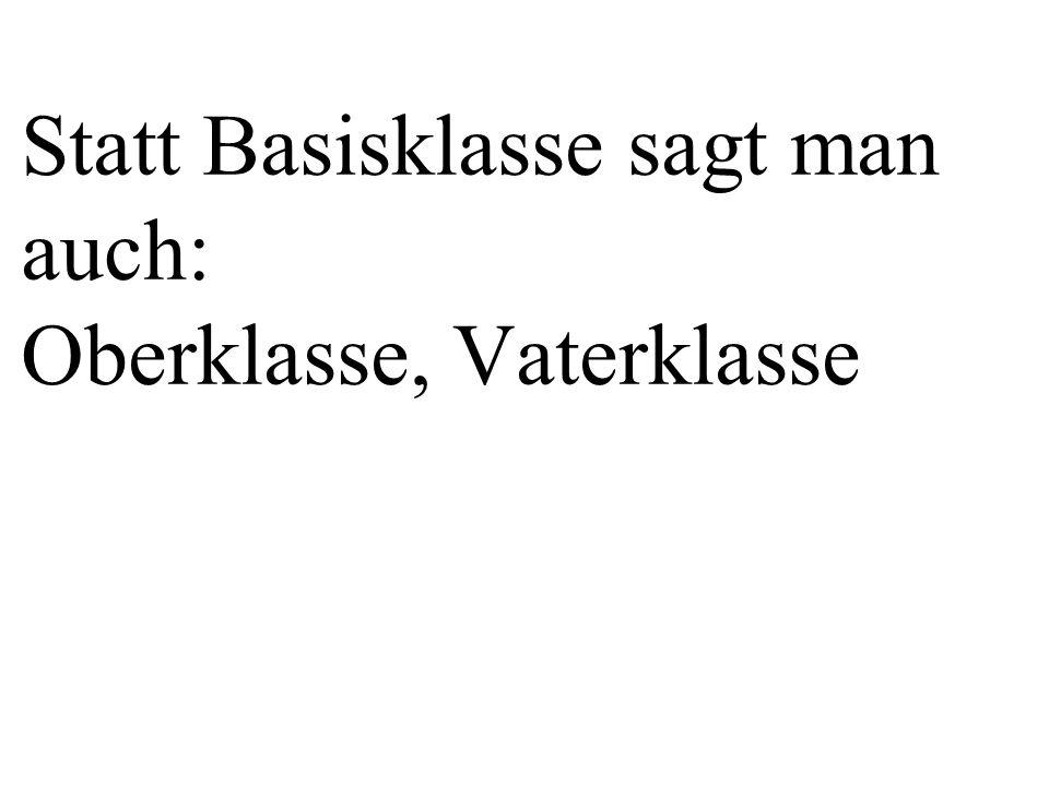wenn die folgende Beziehung besteht: Subklasse ist ein(e) Basisklasse.