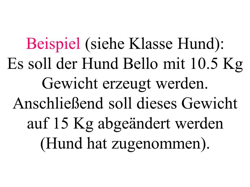 Beispiel (siehe Klasse Hund): Es soll der Hund Bello mit 10.5 Kg Gewicht erzeugt werden. Anschließend soll dieses Gewicht auf 15 Kg abgeändert werden