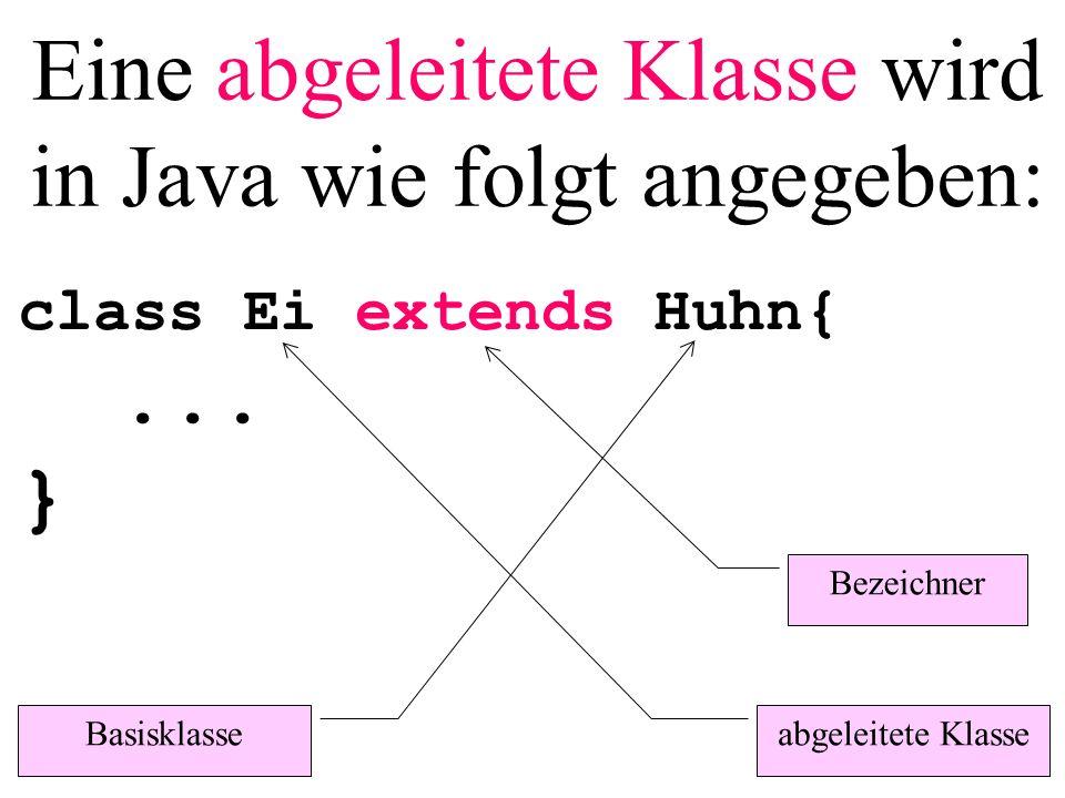 Eine abgeleitete Klasse wird in Java wie folgt angegeben: class Ei extends Huhn{... } Basisklasse abgeleitete Klasse Bezeichner