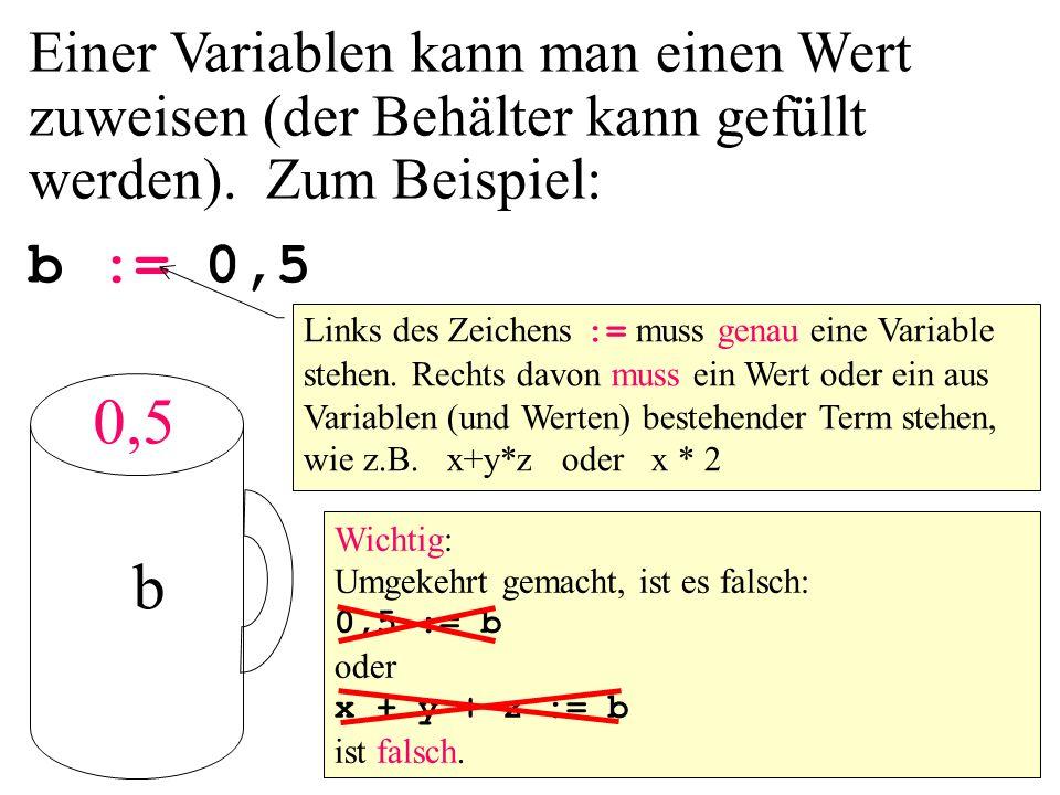 Einer Variablen kann man einen Wert zuweisen (der Behälter kann gefüllt werden). Zum Beispiel: b := 0,5 Links des Zeichens := muss genau eine Variable