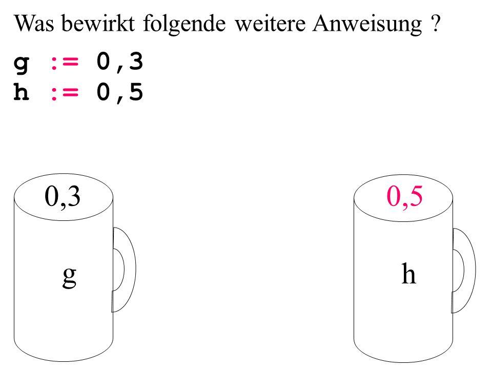 Was bewirkt folgende weitere Anweisung ? g := 0,3 g h 0,50,3 h := 0,5