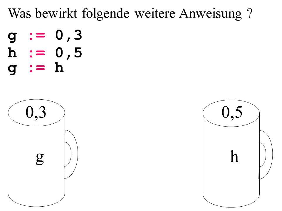 Was bewirkt folgende weitere Anweisung ? g := 0,3 g h 0,50,3 h := 0,5 g := h