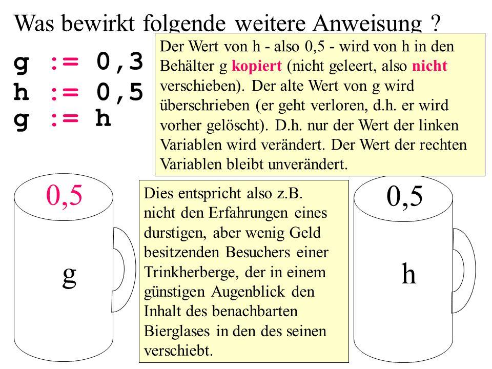 Was bewirkt folgende weitere Anweisung ? g g := 0,3 h 0,5 Der Wert von h - also 0,5 - wird von h in den Behälter g kopiert (nicht geleert, also nicht