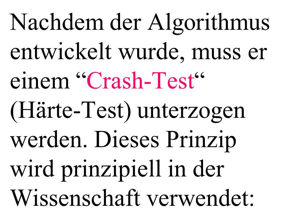 Nachdem der Algorithmus entwickelt wurde, muss er einem Crash-Test (Härte-Test) unterzogen werden. Dieses Prinzip wird prinzipiell in der Wissenschaft