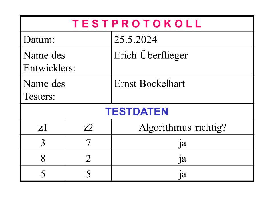 T E S T P R O T O K O L L Datum:25.5.2024 Name des Entwicklers: Erich Überflieger Name des Testers: Ernst Bockelhart TESTDATEN z1z2Algorithmus richtig