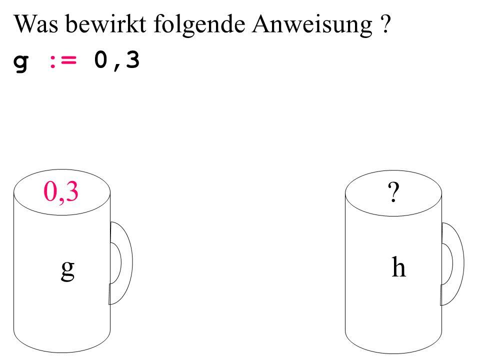 g := 0,3 g h 0,3 Was bewirkt folgende Anweisung